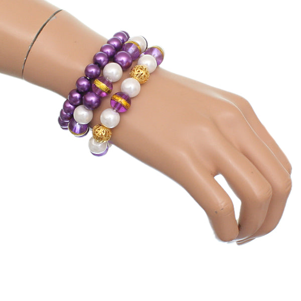 Purple Faux Pearl Beaded Stretch Bracelets