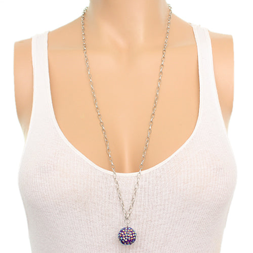 Purple Beaded Fireball Charm Chain Necklace