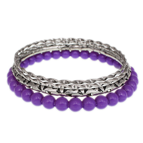 Purple Beaded Twist Stack Bangle Bracelets