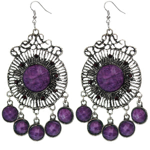 Purple Round Faceted Beaded Chandelier Earrings