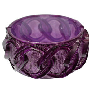 Purple Chain Link Texture Hinged Bracelet
