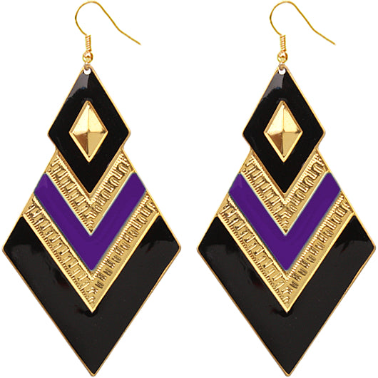 Purple and Black spear earrings