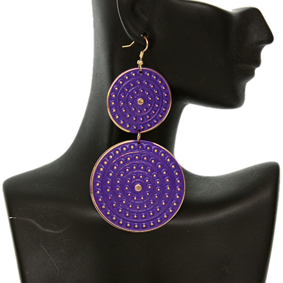 Purple Round Double Disk Dangle Earrings