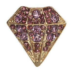 Purple Diamond Shaped Rhinestone Adjustable Ring