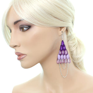Purple Faceted Drop Chain Chandelier Earrings