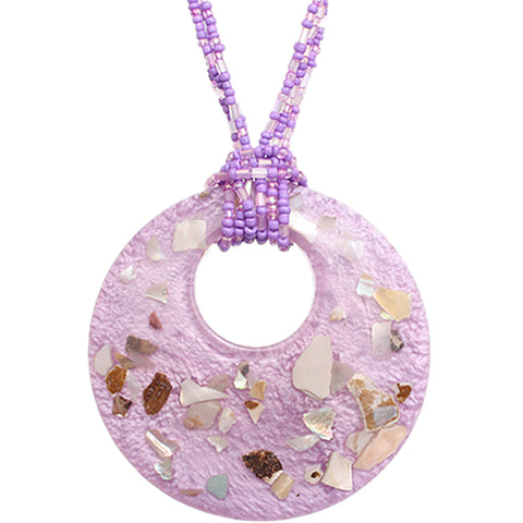Purple Open Circle Faux Marble Beaded Necklace Set
