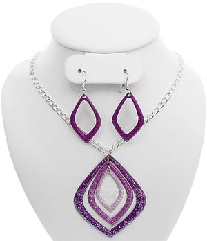 Purple Layered Glitter Teadrop Charm Necklace Set