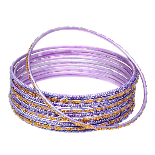Purple Thin Glitter Stacked Bangle Bracelets