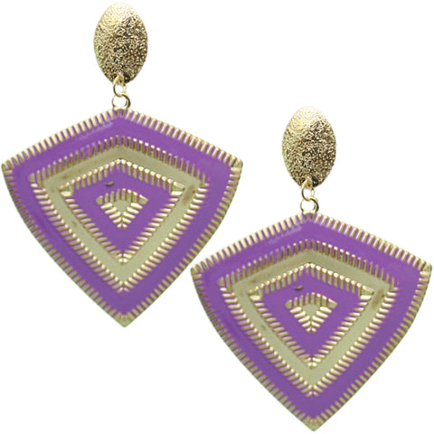 Purple Inverted Triangle Frost Earrings