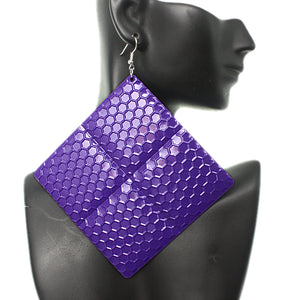Purple Oversized Hammered Honeycomb Pyramid Earrings