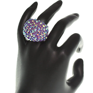 Purple Studded Iridescent Rhinestone Dome Ring