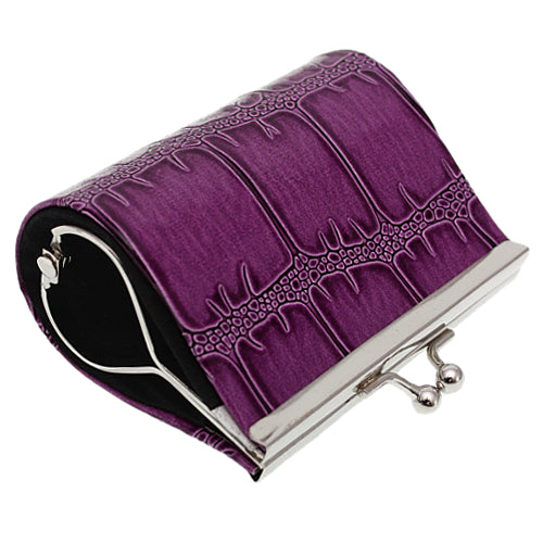 Purple Glossy Faux Leather Kisslock Coin Purse