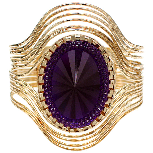 Purple Large Faux Gemstone Cuff Bracelet