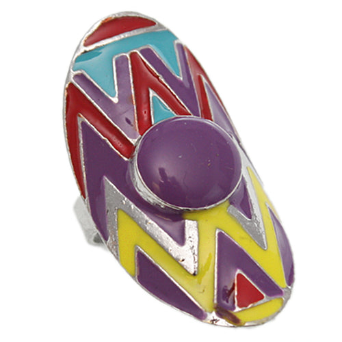 Purple Multicolor Zigzag Oval Chevron Adjustable Ring