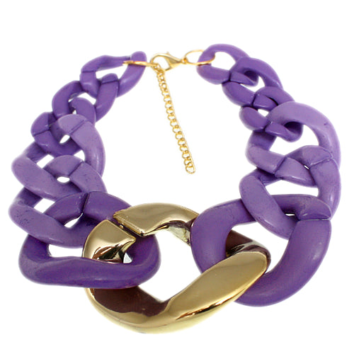 Purple Graduated Adjustable Chain Link Bracelet