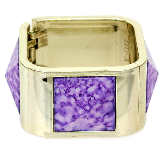 Purple Spotted Pyramid Hinged Bracelet