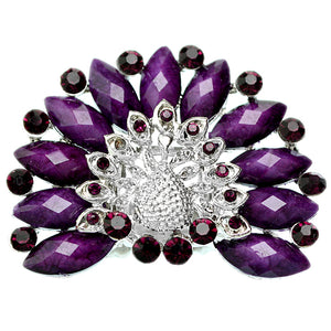 Purple Rhinestone Peacock Stretch Ring