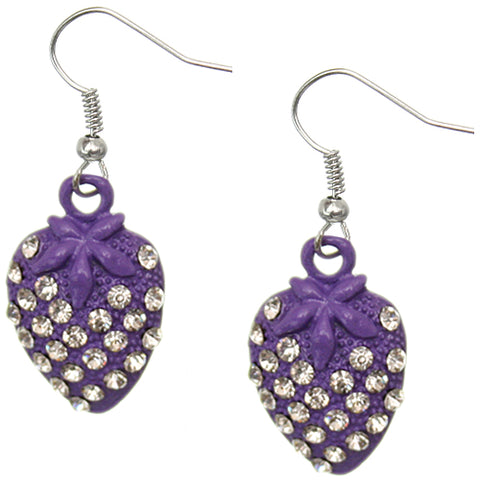 Purple Strawberry Mini Rhinestone Earrings
