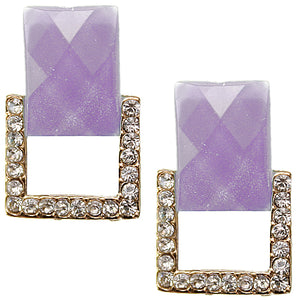Purple Square Gemstone Post Earrings