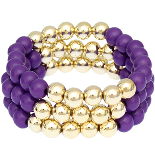 Purple Beaded Round Ball Stretch Bracelets