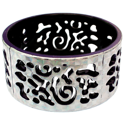Purple Silver Cutout Chinese Textured Bangle Bracelet