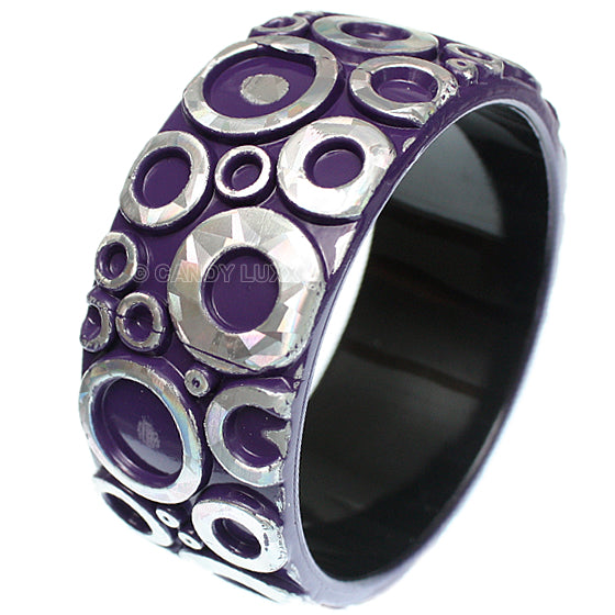 Purple Silver Foil Bubble Bangle Bracelet