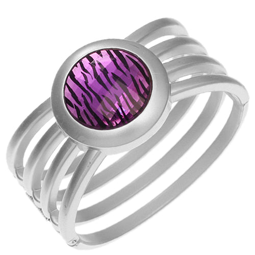 Purple Zebra Gemstone Hinged Bracelet