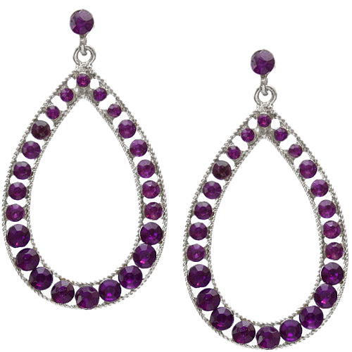 Purple Gemstone Gradual Teardrop Earrings