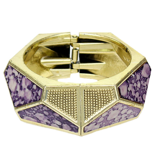 Purple Spotted Triangular Hinged Bracelet