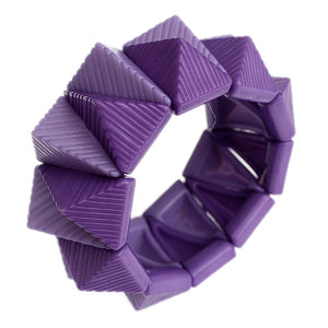 Purple Two Tone Triangle Pyramid Stretch Bracelet