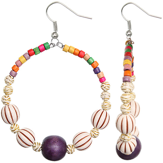 Purple Wooden Coil Earrings