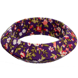 Purple Floral Fabric Saucer Bangle Bracelet
