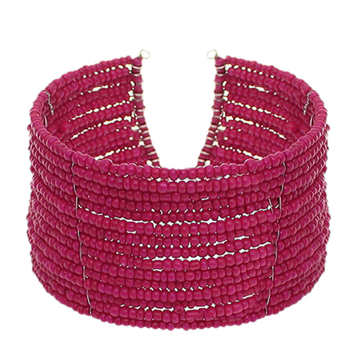 Raspberry Pink Beaded Sequin Coil Cuff Bracelet