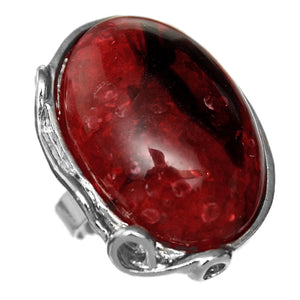 Red Large Circular Stone Adjustable Ring