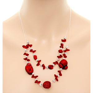 Red Beaded Illusion Invisible Necklace Set