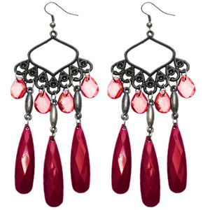 Red Beaded Dangle Chandelier Earrings