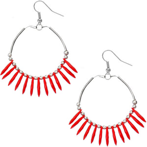 Red Beaded Disc Hoop Earrings