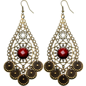 Red Beaded Disc Dangle Earrings