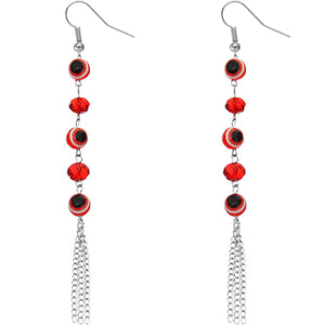 Red Beaded Evil Eye Chain Earrings