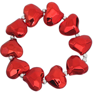 Red Faceted Heart Stretch Bracelet