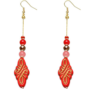 Red Ethnic Carved Pattern Bead Drop Earrings
