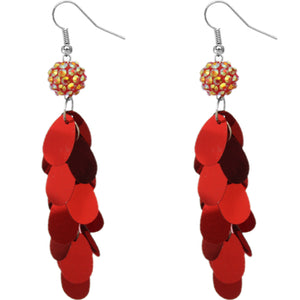 Red Beaded Fireball Confetti Cascade Earrings