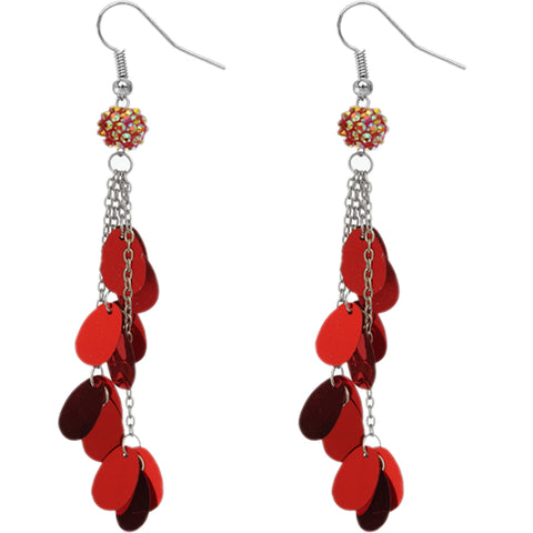 Red Beaded Fireball Confetti Chain Earrings