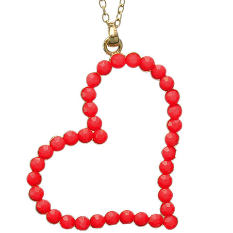 Red Beaded Heart Charm Chain Necklace