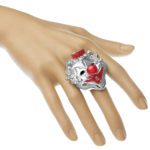 Red Bead Rhinestone Clown Adjustable Ring