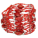 Red Beaded Sequin Stretch Bracelet