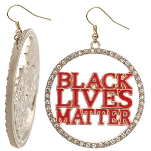 Red Black Lives Matter Metal Hoop Earrings