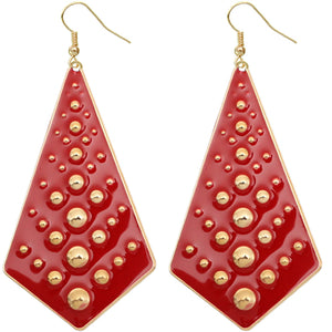 Red Bubble Necktie Dangle Earrings