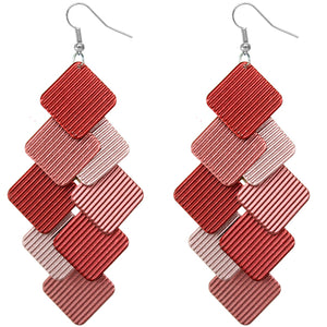 Red Cascade Layered Dangle Earrings