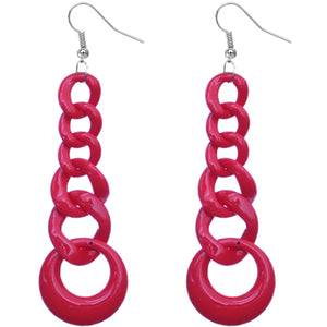 Red Gradual Chain Link Earrings